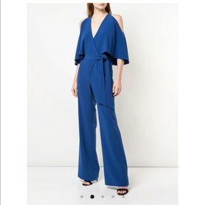 Halston heritage blue cut out shoulder jumpsuits
